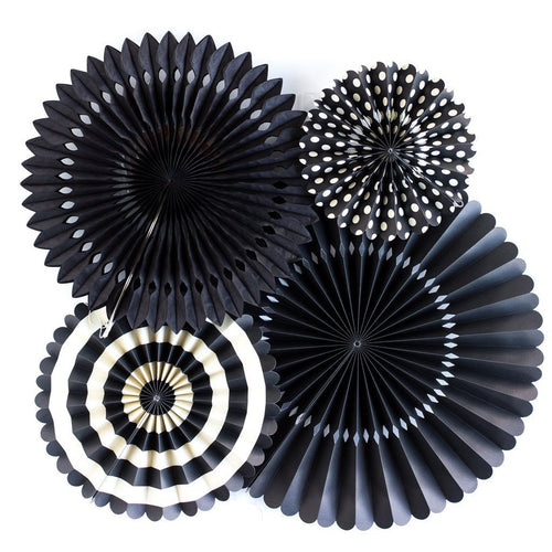 4 Black Party Paper Rosettes Fans-The Wedding Haus