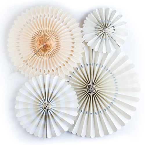 4 Ivory Party Paper Rosettes Fans-The Wedding Haus