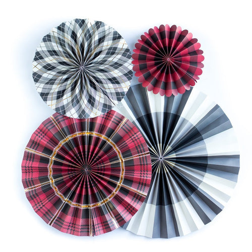 4 Plaid Paper Rosettes-The Wedding Haus