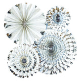 4 Silver Paper Rosettes-The Wedding Haus