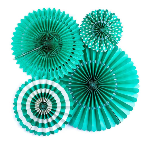 4 Teal Paper Rosettes-The Wedding Haus