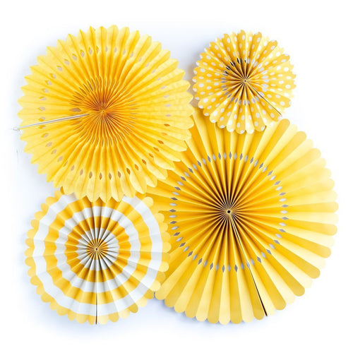 4 Yellow Party Paper Rosettes Fans-The Wedding Haus