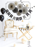 8 Black and White Paper Rosettes Fans-The Wedding Haus