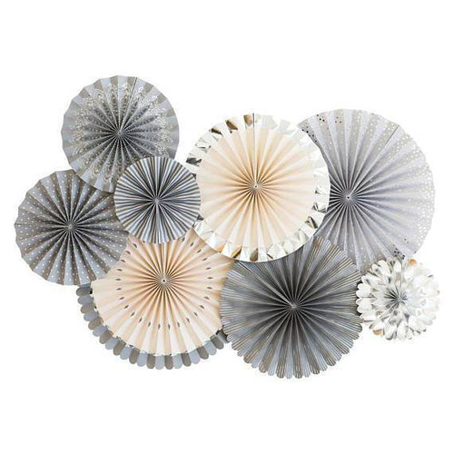 8 Grey Glam Party Rosettes-The Wedding Haus
