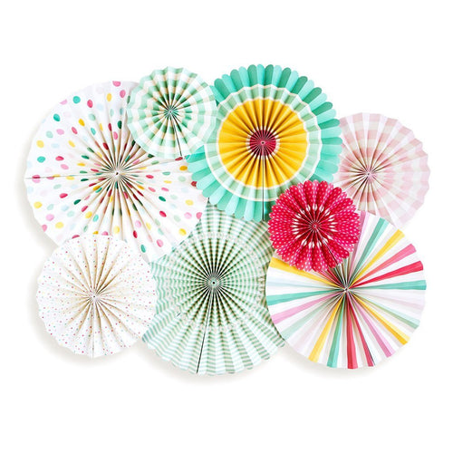 8 Paper Rosettes Fans-The Wedding Haus