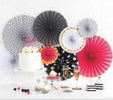 8 Pink, Black, White and Gold Party Rosettes-The Wedding Haus