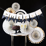 8 White, Black and Gold Party Rosettes-The Wedding Haus
