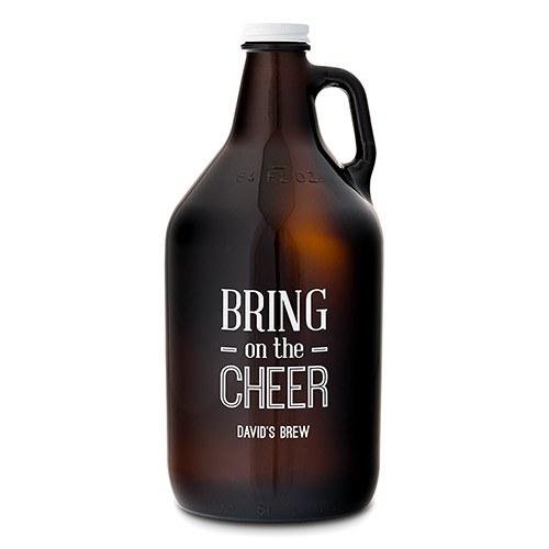 "Amber Glass Growler - ""Bring On The Cheer"" Printing-The Wedding Haus"