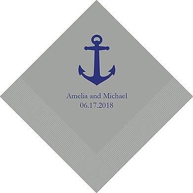 Anchor Printed Paper Napkins (Sets of 80-100)-The Wedding Haus