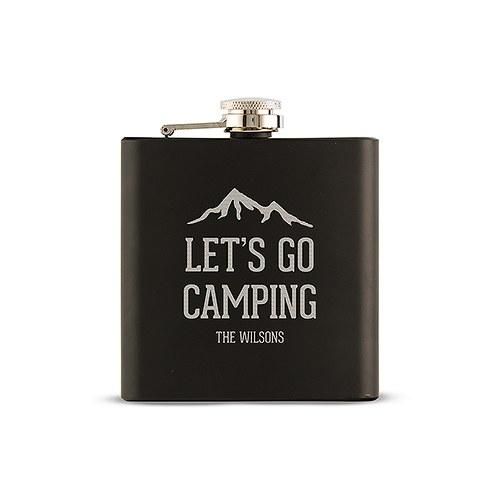 Black Coated 6oz Hip Flask - Let's Go Camping Etching-The Wedding Haus