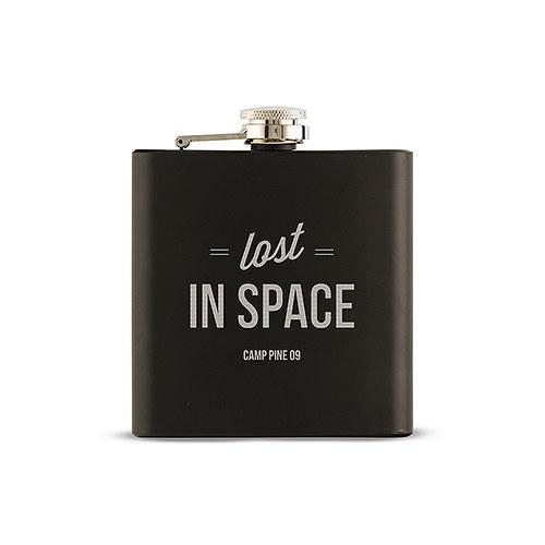 Black Coated 6oz Hip Flask - Lost In Space Etching-The Wedding Haus