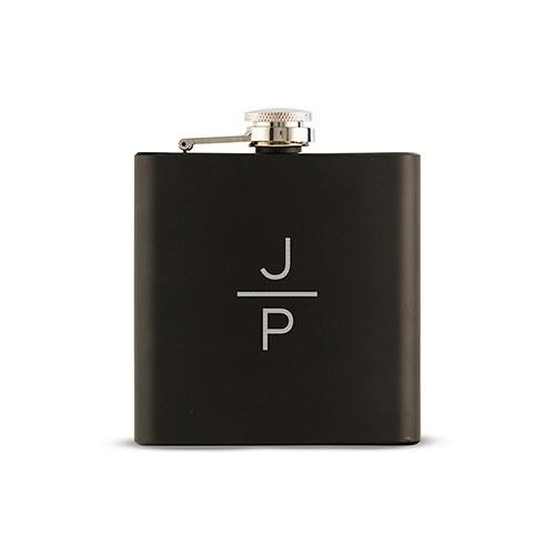 Black Coated 6oz Hip Flask - Stacked Monogram Etching-The Wedding Haus