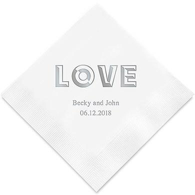 Bold Love Printed Paper Napkins (Sets of 80-100)-The Wedding Haus