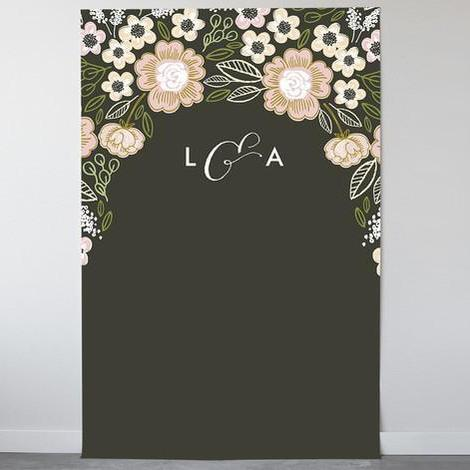 Botanical Wreath Personalizable Photo Backdrops-The Wedding Haus