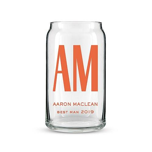 Can Shaped Beer Glass Personalized - Custom Monogram Print-The Wedding Haus