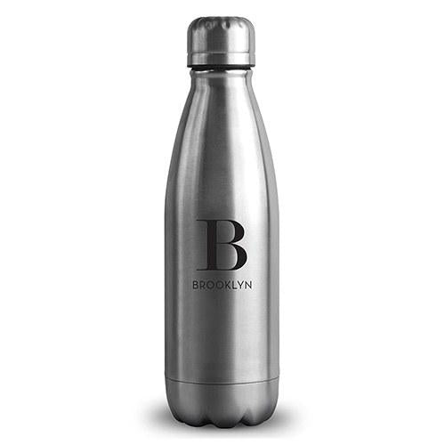 Central Park Travel Bottle - Matte Silver Modern Serif Initial Printing-The Wedding Haus