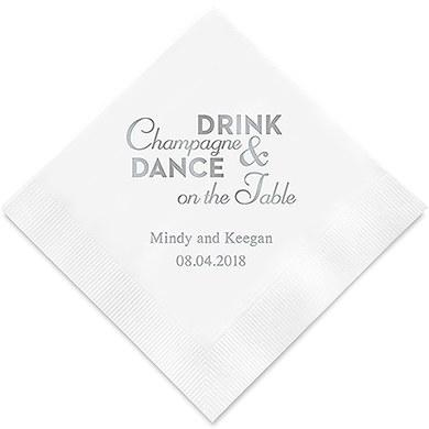 Champagne & Dance Printed Paper Napkins (Sets of 80-100)-The Wedding Haus