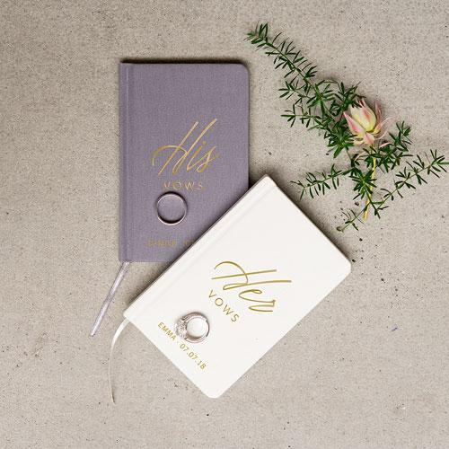Charcoal Linen Pocket Journal His Vows Emboss-The Wedding Haus