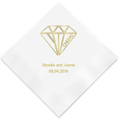 Cheers Geometric Diamond Printed Napkins (Sets of 80-100)-The Wedding Haus