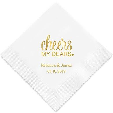 Cheers My Dears Printed Paper Napkins (Sets of 80-100)-The Wedding Haus