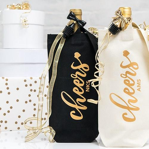 Cheers Personalized Canvas Wine Tote Bag-The Wedding Haus