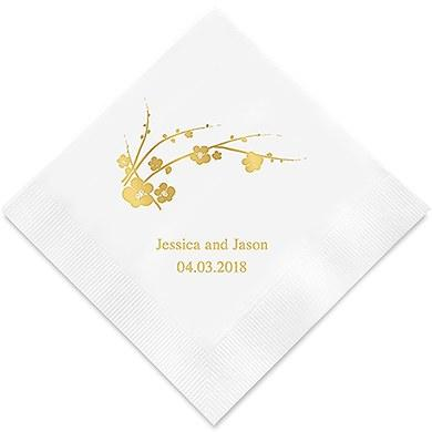 Cherry Blossom Printed Paper Napkins (Sets of 80-100)-The Wedding Haus