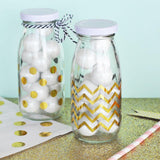 Chevron & Dots Gold Foil Milk Bottle Labels (Set of 12)-The Wedding Haus