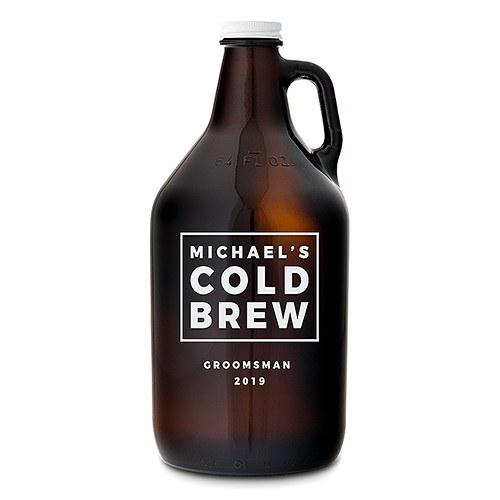 Custom Amber Glass Beer Growler - Cold Brew Print-The Wedding Haus
