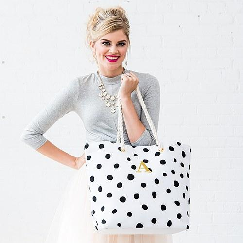 Dalmatian Dot Tote - Black On White-The Wedding Haus