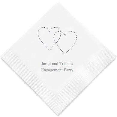 Dashed Hearts Printed Paper Napkins (Sets of 80-100)-The Wedding Haus