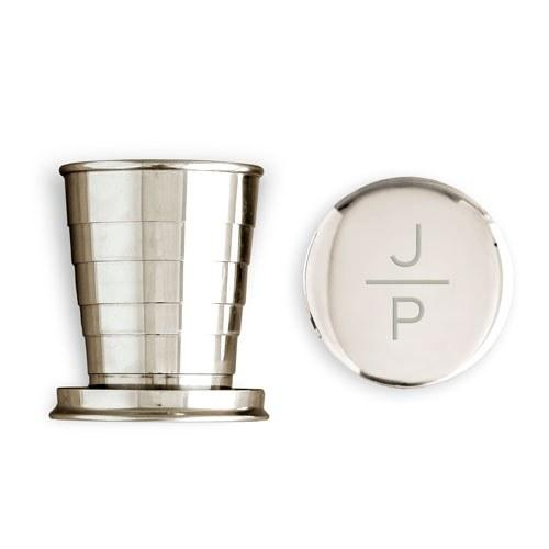 Engraved Collapsible Silver Shot Glass - Stacked Monogram Etching-The Wedding Haus