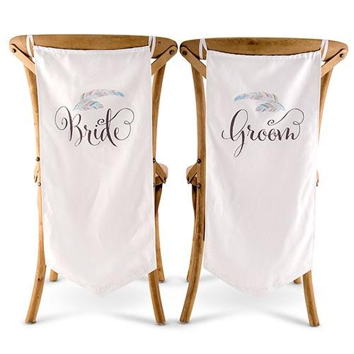 Feather Whimsy Bride And Groom Chair Banner Set-The Wedding Haus