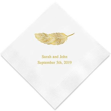 Feather Whimsy Printed Paper Napkins (Sets of 80-100)-The Wedding Haus