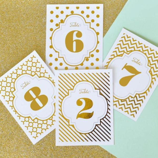 Foil Table Numbers-The Wedding Haus