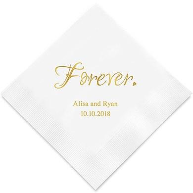 Forever Printed Paper Wedding Napkins (Sets of 80-100)-The Wedding Haus