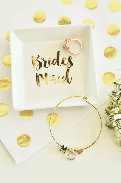 Gold Monogram Bracelets with Gift Box-The Wedding Haus