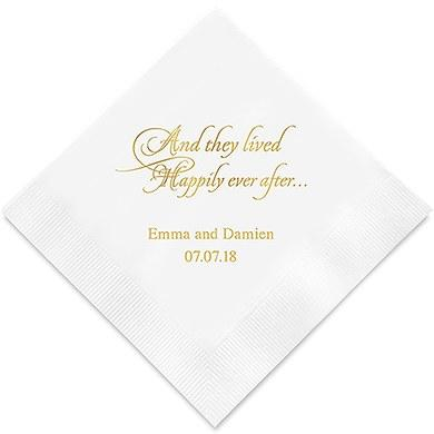 Happily Ever After Printed Paper Napkins (Sets of 80-100)-The Wedding Haus