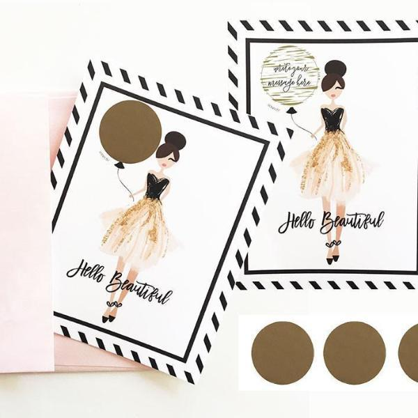 """Hello Beautiful"" Scratch Off Cards (Set of 4)-The Wedding Haus"