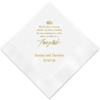 Love Gives Us A Fairy Tale Printed Napkins (Sets of 80-100)-The Wedding Haus