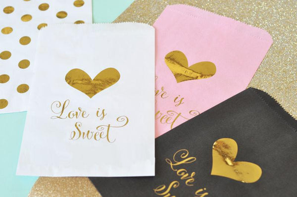 """Love is Sweet"" Gold Foil Candy Buffet Bags (Set of 12)-The Wedding Haus"