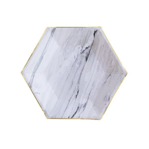 Marble Hexagon Small Party Plates (Set of 8)-The Wedding Haus