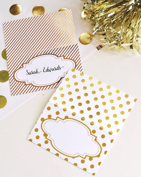 Metallic Foil Place Cards (Set of 12)-The Wedding Haus