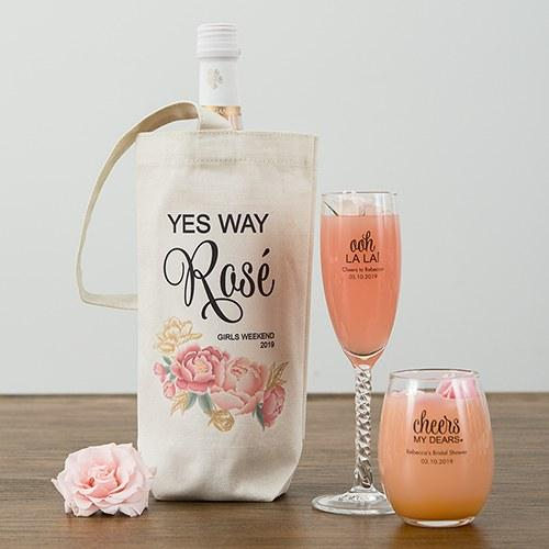 Modern Floral Personalized Natural Canvas Wine Tote Bag-The Wedding Haus