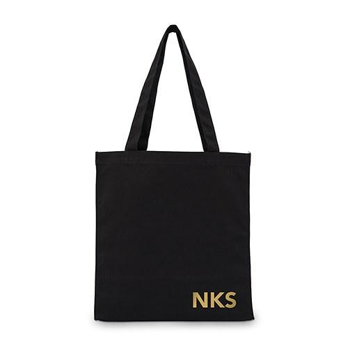 Modern Monogram Black Canvas Tote Bag-The Wedding Haus
