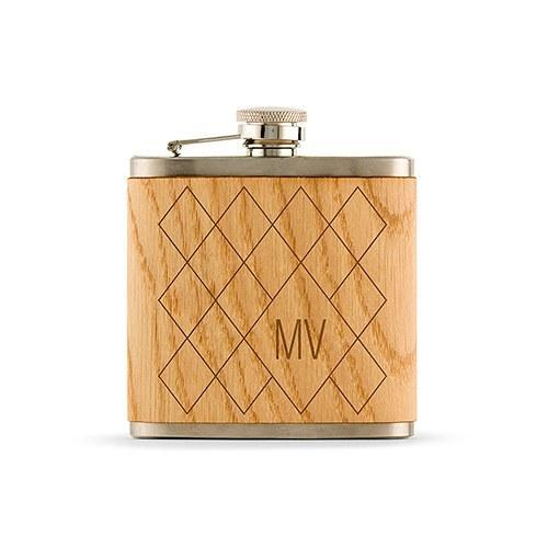 Monogrammed Argyle Wood Wrapped Hip Flask-The Wedding Haus