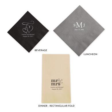 Monsieur & Madame - M & Mme Printed Paper Napkins (Sets of 80-100)-The Wedding Haus