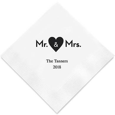 Mr & Mrs Heart Printed Paper Napkins (Sets of 80-100)-The Wedding Haus