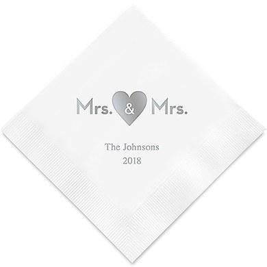 Mrs & Mrs Same Sex Heart Printed Napkins (Sets of 80-100)-The Wedding Haus