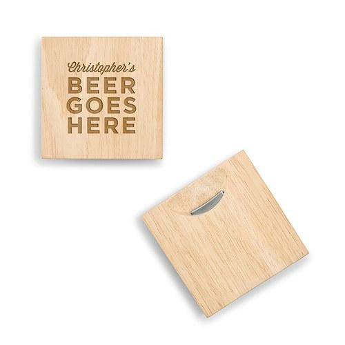 Natural Wood Coaster With Built In Bottle Opener - Beer Goes Here Etching-The Wedding Haus