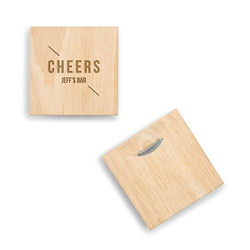 Natural Wood Coaster With Built In Bottle Opener - Cheers Etching-The Wedding Haus
